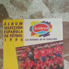 Álbum de fútbol completo: ALBUM SELECCIÓN ESPAÑOLA EURO 1996 HELADOS AVIDESA COMPLETO. Lote 130973476