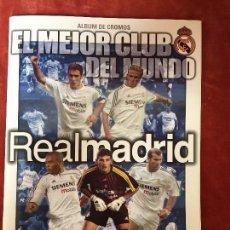 Álbum de fútbol completo: ALBUM CROMOS FUTBOL EL MEJOR CLUB DEL MUNDO REAL MADRID 30X23CMS. Lote 134729822