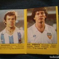 Álbum de fútbol completo: SUPER FUTBOL 84 ROLLAN. LOTE 2 CROMOS NUNCA PEGADO TIRAS SIN CORTAR SAGARZAZU SOCIEDAD SUBIRATS . Lote 155538554