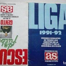 Álbum de fútbol completo: ALBUM DE CROMOS LIGA FUTBOL 91-92 AS Y ESCUELA DE FUTBOL GENTO.. Lote 155662550