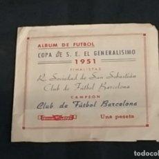 Álbum de fútbol completo: ALBUM DE FUTBOL - COPA DE S.E. EL GENERALISIMO 1951 - C.F. BARCELONA - REAL SOCIEDAD. Lote 175108340