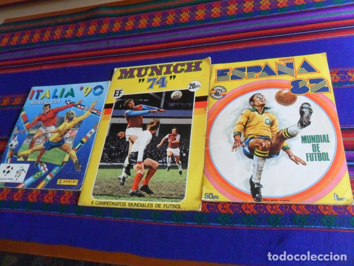 MUNICH 74 FHER COMPLETO, ESPAÑA 82 FHER INCOMPLETO REGALO ITALIA 90 PANINI INCOMPLETO MUNDIAL FÚTBOL (Coleccionismo Deportivo - Álbumes y Cromos de Deportes - Álbumes de Fútbol Completos)