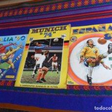 Álbum de fútbol completo: MUNICH 74 FHER COMPLETO, ESPAÑA 82 FHER INCOMPLETO REGALO ITALIA 90 PANINI INCOMPLETO MUNDIAL FÚTBOL. Lote 177119527