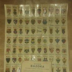 Álbum de fútbol completo: CHICLE BAZOKA - SELLOS CALCOMANIAS CON 100 ESCUDOS FÚTBOL CON SOBRE ORIGINAL HOJA COMPLETA . Lote 177396919