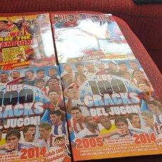 Álbum de fútbol completo: 4 ALBUNES DE LA REVISTA JUGON CRACKS MADE IN SPAIN WE ARE THE CHAMPIONS LOS 100 CRACKS DEL JUGON. Lote 177574775