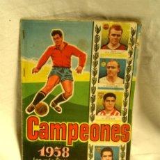 Álbum de fútbol completo: ALBÚM CROMOS FÚTBOL CAMPEONES 1958, EDITORIAL BRUGUERA, COMPLETO. Lote 183456816