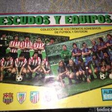 Álbum de fútbol completo: ALBUM ED. ESTE ESCUDO Y EQUIPOS 1976 77 ( EQUIPOS COMPLETO - ESCUDOS SIN PEGAR A FALTA DE 2 ). Lote 183818503
