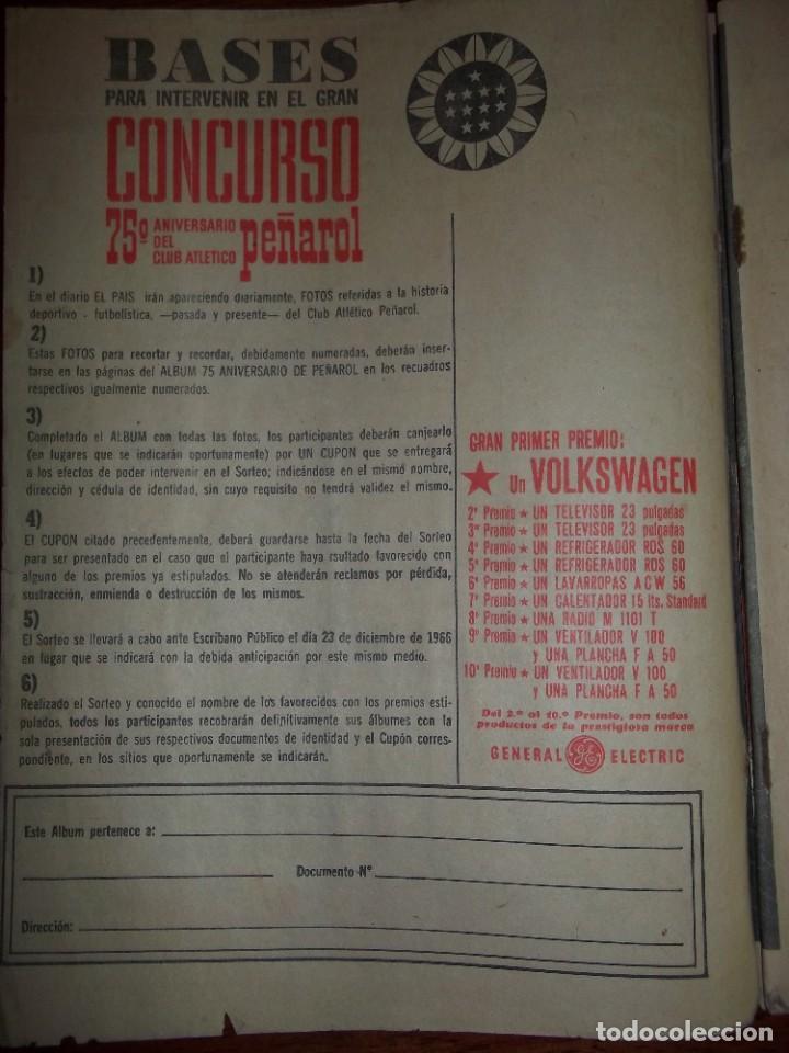 Álbum de fútbol completo: Antiguo álbum Club Atlético Peñarol de Uruguay en sus 75 aniversario año 1966. Completo - Foto 2 - 195337187