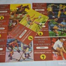 Álbum de fútbol completo: NESTLÉ -- EL DEPORTE VISTO POR SUS ASES -- LOTE 7 PRIMEROS ÁLBUMES / TODOS COMPLETOS ¡MIRA FOTOS!. Lote 214086970