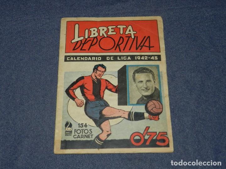 ALBUM LIBRETA DEPORTIVA , CISNE 1942, FALTAN 74 CROMOS, 1 DIVISION , SEÑALES DE USO (Coleccionismo Deportivo - Álbumes y Cromos de Deportes - Álbumes de Fútbol Completos)