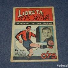 Álbum de fútbol completo: ALBUM LIBRETA DEPORTIVA , CISNE 1942, FALTAN 74 CROMOS, 1 DIVISION , SEÑALES DE USO. Lote 214354558