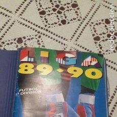 Álbum de fútbol completo: ALBUM EN ESTADO IMPOLUTO Y LOS CROMOS NUEVOS, LIGA 1989-90 DE ESTE COMPLETO, REVERT,CHINEA,SALMERON,. Lote 218922536