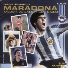 Álbum de fútbol completo: ALBUM CROMOS FACSIMIL DIEGO ARMANDO MARADONA MEJOR JUGADOR DEL SIGLO NUEVO Y COMPLETO. Lote 221980003