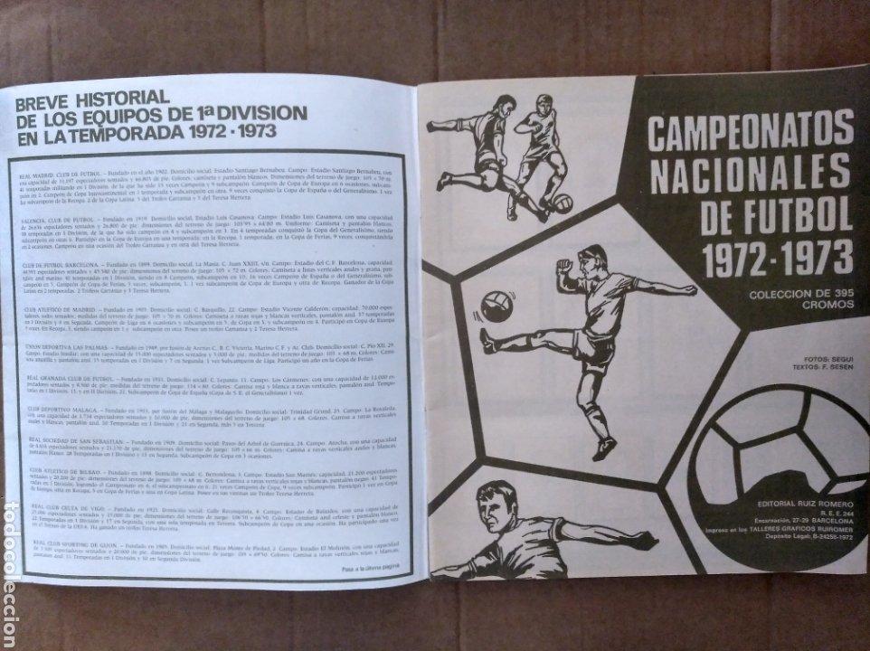 Álbum de fútbol completo: R. ROMERO 1972/73 ALBUM COMPLETO CON CUATRO CROMOS DOBLES Y UN TRIPLE,MUY BUENO. - Foto 2 - 222035031