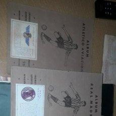 Álbum de fútbol completo: 3 ÁLBUMES MUY ANTIGUOS Y COMPLETOS DEL BARCA,MADRID Y ATLÉTICO AVIACION. Lote 230429505