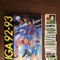 Álbum de fútbol completo: ALBUM FUTBOL LIGA ESTE 92-93 COMPLETO 1992-1993 CON 66 CROMOS DOBLES SUELTOS Y 3 PEGADOS EN EL ALBUM. Lote 239360525