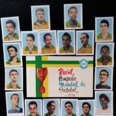 Álbum de fútbol completo: PELÉ BRASIL ÁLBUM REIMPRESIÓN DEL ORIGINAL DE 1958 EDITORA AQUARELA VACÍO + 24 CROMOS BRAZIL PELE. Lote 247484175