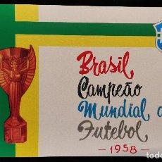Álbum de fútbol completo: 1958 PELE BRASIL ÁLBUM REIMPRESIÓN DEL ORIGINAL EDITORA AQUARELA VACÍO + 24 CROMOS BRAZIL TEAM PELÉ. Lote 251825520