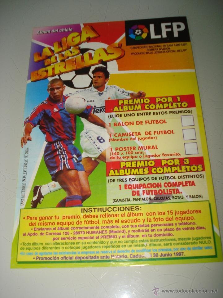 Coleccionismo deportivo: Album Cromos del Chicle de LA LIGA DE LAS ESTRELLAS con el ZARAGOZA Campeonato de Liga 1996-1997 - Foto 2 - 39823320