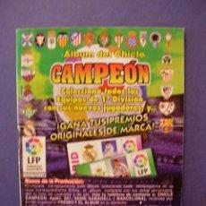 Coleccionismo deportivo: ALBUM DEL CHICLE CAMPEON LIGA 96 97 1996 1997 ALBUM INCOMPLETO CON 100 CROMOS PEGADOS. Lote 44056950