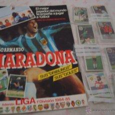 Coleccionismo deportivo: CROMOESPORT ALBUM PLANCHA MARADONA Y SUS DRIBLINGS Y LIGA 84-85 Y LOTE 202 CROMOS NUNCA PEGADO. LEER. Lote 44213412