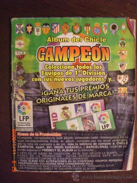 ALBUM CHICLE CAMPEON TEMPORADA 96-97 (Coleccionismo Deportivo - Álbumes y Cromos de Deportes - Álbumes de Fútbol Incompletos)