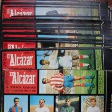 Coleccionismo deportivo: LAMINAS FUTBOL EL ALCAZAR 1967-68.EN TOTAL 30 LAMINAS SIN. RECORTAR QUE SON 190 CROMOS. Lote 120287752