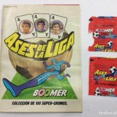 Coleccionismo deportivo: ÁLBUM ASES DE LA LIGA CHICLE FÚTBOL BOOMER + ENVOLTORIOS. Lote 99057223