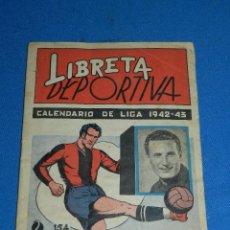 Coleccionismo deportivo: ALBUM LIBRETA DEPORTIVA , CISNE 1942, FALTAN 74 CROMOS, 1 DIVISION , SEÑALES DE USO. Lote 116551087