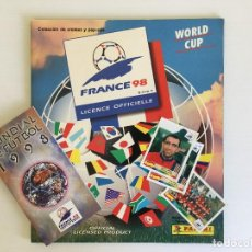 Coleccionismo deportivo: ÁLBUM FRANCE 98 PANINI INCOMPLETO + 3 CROMOS POP UP + CALENDARIO DE PARTIDOS. Lote 118598111