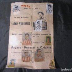 Coleccionismo deportivo: HOJA DE CROMOS ANTIGUOS CHOCOLATE PAYASO DEVESOS MAL ESTADO. Lote 142252594