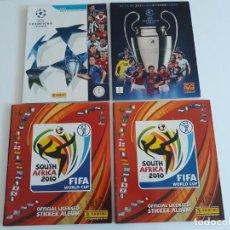 Coleccionismo deportivo: LOTE DE 4 ÁLBUMES - 2 DE SUDÁFRICA MUNDIAL 2010 - 2 DE UEFA CHAMPION LEAGUE TEMP. 11 - 12 _ 12 - 13. Lote 168797132
