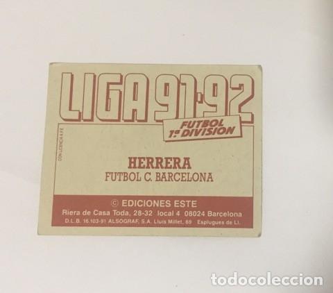 Coleccionismo deportivo: EDICIONES ESTE LIGA 91-92 BAJA HERRERA BARCELONA 1991-1992 CARTON NUNCA PEGADO - Foto 2 - 174097895