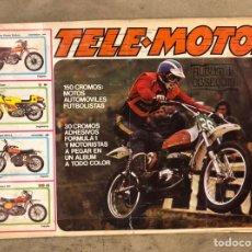 Coleccionismo deportivo: TELE-MOTOR. ÁLBUM DE CROMOS MOTOS Y FÚTBOL A FALTA DE 5 + ÁLBUM POSTER TELE-MOTOR A FALTA DE 3.. Lote 175985934