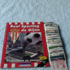 Coleccionismo deportivo: REAL SPORTING DE GIJON ALBUM SU HISTORIA EN CROMOS CROMOSOL CON 11 CROMOS MAS LOTE DE 207 DIFERENTES. Lote 178151919