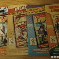Coleccionismo deportivo: LIGA ESTE PANINI CROMOS - LOTE CUATRO HOJAS ÁLBUM MERCADO DE INVIERNO + ACTUALIZACIÓN. Lote 179109640