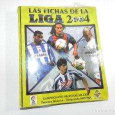 Coleccionismo deportivo: ARCHIVADOR NUEVO DE ANILLAS VACIO CON PAQUETE HOJAS LAS FICHAS DE LA LIGA 2003 2004 MUNDICROMO. Lote 194658997