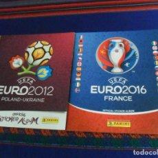 Coleccionismo deportivo: PANINI EUROCOPA EURO 2012 12 POLONIA UCRANIA VACÍO Y EUROCOPA EURO 2016 16 FRANCIA VACÍO. PLANCHA.. Lote 222259900