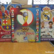 Collezionismo sportivo: TRES ALBUMES - KOREA JAPON 2002 WORLD CUP - R.MADRID Y F.C BARCELONA TEMPORADA 2007 2008 - PANINI. Lote 287327928