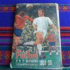 Coleccionismo deportivo: FHER FÚTBOL LIGA 1ª Y 2ª DIVISIÓN TEMPORADA 68 69 1968 1969 CON 488 CROMOS PEGADOS Y 30 DOBLES. RARO. Lote 296692133