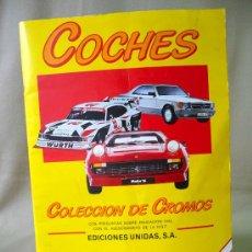 Coleccionismo Álbumes: ALBUM INCOMPLETO, COCHES, EDICIONES UNIDAS, MOTOR 16, 1986. Lote 25429361