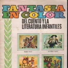 Coleccionismo Álbumes: ALBUM FANTASIA EN COLOR DEL CUENTO Y LA LITERATURA INFANTIL - TIENE 51 DE 180 CROMOS. Lote 27038498