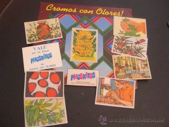 ALBUM PHOSKITOS AÑOS 70 CROMOS CON OLORES MAS 7 CROMOS Y UN VALE REGALO (Coleccionismo - Cromos y Álbumes - Álbumes Incompletos)