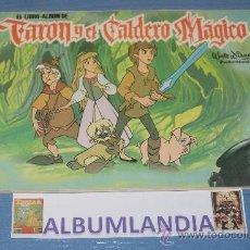 Coleccionismo Álbumes: ALBUMLANDIA ALBUM INCOMPLETO DE TARON Y EL CALDERO MAGICO DE PLAZA JOVEN. Lote 34525102