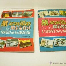 Coleccionismo Álbumes: LOTE 2 ALBUM CROMOS MARAVILLAS DEL MUNDO A TRAVES DE LA IMAGEN 1 Y 2 2ª ED. BRUGUERA 1956. Lote 40037944