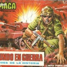 Coleccionismo Álbumes: ALBUM DE MAGA EL MUNDO EN GUERRA A TRAVES DE LA HISTORIA, IMCOMPLETO Y CROMOS SUELTOS. 1979. Lote 40188617