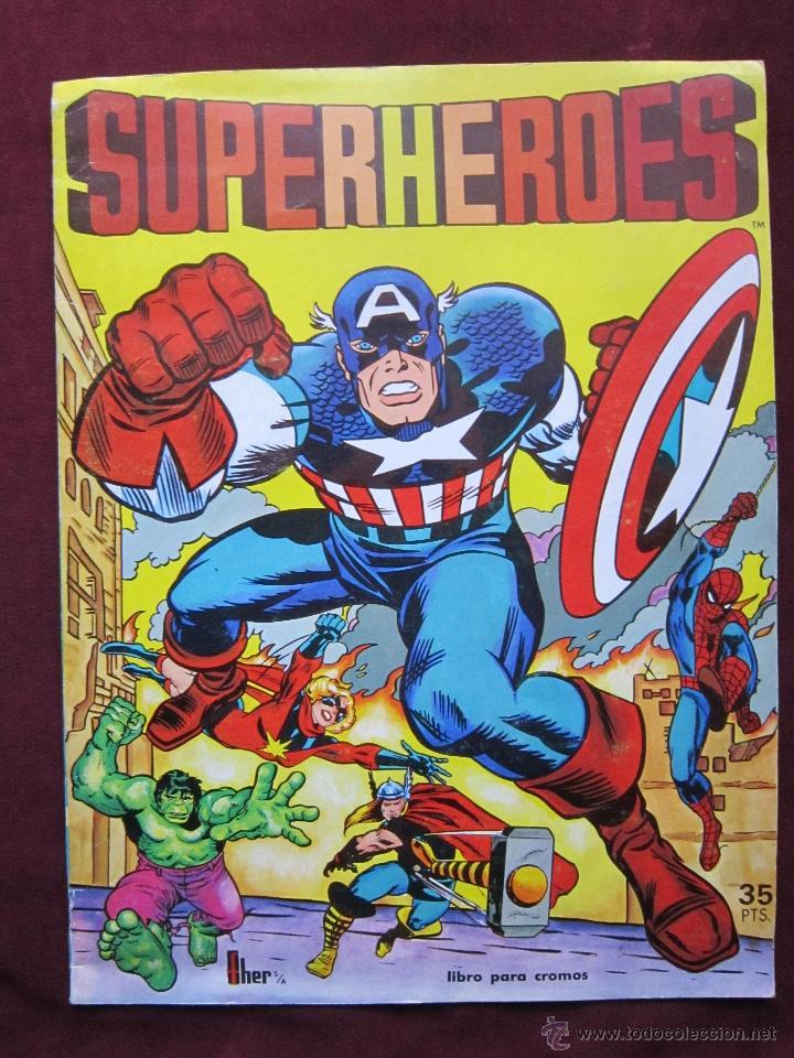 ÁLBUM DE CROMOS SUPERHEROES. EDITORIAL FHER 1981. INCOMPLETO. TEBENI. MBE (Coleccionismo - Cromos y Álbumes - Álbumes Incompletos)