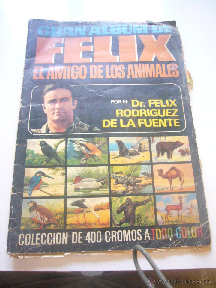 GRAN ALBUM FÉLIX RODRÍGUEZ DE LA FUENTE EL AMIGO DE LOS ANIMALES CON 305 DE 400 CROMOS BRUGUERA DAR (Coleccionismo - Cromos y Álbumes - Álbumes Incompletos)