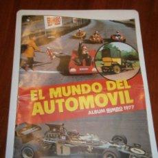 Coleccionismo Álbumes: ALBUM EL MUNDO DEL AUTOMOVIL DE BIMBO VACIO PERO BUEN ESTADO,BARATO. Lote 48370527