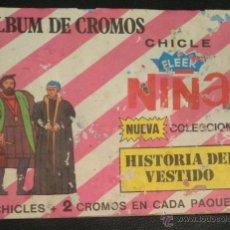Coleccionismo Álbumes: ALBUM DE CROMOS CHICLE FLEER NIÑA NUEVA COLECCION HISTORIA DEL VESTIDO. Lote 148807132